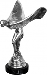 Casa Padrino Luxus Bronze Skulptur Lady with Wings Silber / Schwarz 18 x 20 x H. 30 cm - Edle Bronzefigur mit Marmorsockel