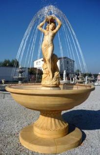 Casa Padrino Jugendstil Gartenbrunnen mit Jungfrau Skulptur Beige Ø 160 x H. 222 cm - Springbrunnen - Gartendeko Brunnen