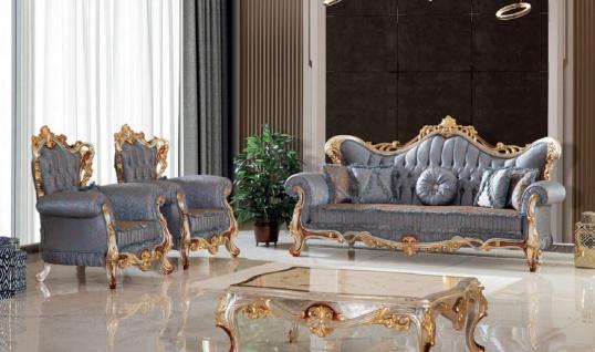 Casa Padrino Luxus Barock Wohnzimmer Set Blau / Kupfer / Silber / Braun / Gold - 2 Sofas & 2 Sessel & 1 Couchtisch - Handgefertigte Wohnzimmer Möbel im Barockstil - Edel & Prunkvoll