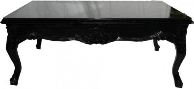 Casa Padrino Barock Couchtisch Schwarz 120 x 80 cm