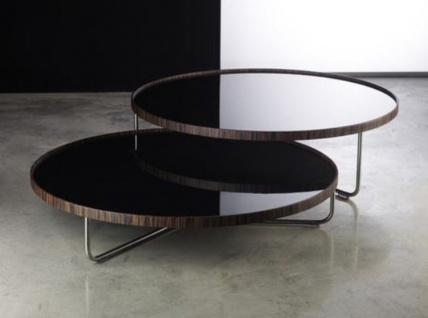 Casa Padrino Luxus Couchtisch Set Braun / Silber / Schwarz - 2 Wohnzimmertische mit Glasplatte - Luxus Wohnzimmer Möbel