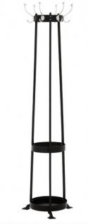 Casa Padrino Designer Luxus Garderobenständer inkl Schirmständer Circle Black - vernickeltes Aluminium - sehr edel