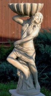 Casa Padrino Jugendstil Gartendeko Statue Mädchen mit Blumentopf 46 x 32 x H. 116 cm - Dekorative Garten Skulptur - Special!