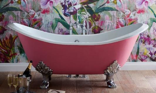Casa Padrino Luxus Jugendstil Badewanne Rosa / Weiß / Silber 180 x 77 x H. 79 cm - Gebogene freistehende Gusseisen Badewanne - Barock & Jugendstil Badezimmer Möbel