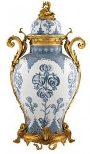 Casa Padrino Luxus Barock Keramik Vase Blau / Weiß / Gold - Grand Decor V4 - Hotel Dekoration