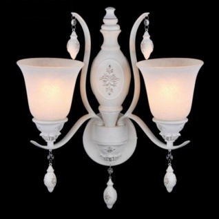 Casa Padrino Barock Wandleuchte Weiß 25, 1 x H 48, 6 cm Antik Stil - Wandlampe Wand Beleuchtung