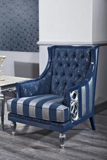 Casa Padrino Luxus Barock Chesterfield Wohnzimmer Sessel Blau / Silber gestreift 77 x 76 x H. 100 cm - Barockmöbel