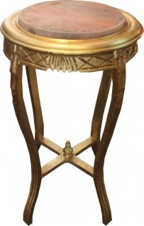 Barock Beistelltisch Rund Gold B. 40 cm x H. 68 cm - Massivholz