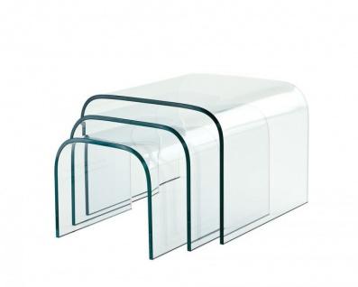 Casa Padrino Luxus Art Deco Designer Glas Beistelltisch 3er Set - Luxus Kollektion