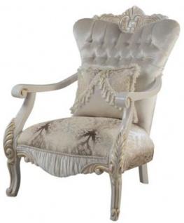 Casa Padrino Luxus Barock Sessel mit dekorativem Kissen Mehrfarbig / Weiß / Gold 85 x 76 x H. 110 cm - Barock Wohnzimmer Möbel