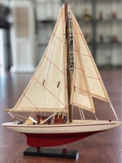 Casa Padrino Deko Segelschiff Endeavour mit Massivholz Ständer Weiß / Rot 26 x 6 x H. 36 cm - Handgefertigtes Schiff Holzschiff - Deko Accessoires