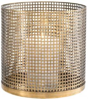 Casa Padrino Luxus Kerzenleuchter Vintage Messingfarben Ø 25, 5 x H. 25 cm - Runder Kerzenleuchter aus Edelstahl und Glas - Luxus Deko Accessoires
