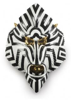 Casa Padrino Luxus Porzellan Deko Maske Pavian Affe Schwarz / Weiß / Gold 31 x 14 x H. 44 cm - Moderne handgefertigte Wanddeko - Erstklassische Qualität - Made in Spain