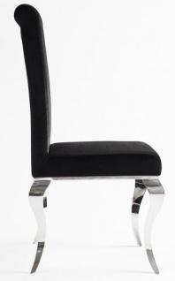 Casa Padrino Luxus Esszimmer Set Schwarz / Silber - Esstisch 200 cm + 4 Stühle - Luxus Qualität - Modern Barock - Vorschau 5