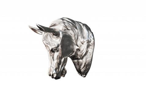 Riesige Casa Padrino Pferdekopf Skulptur Aluminium vernickelt - Pferde Kopf Wand Dekoration