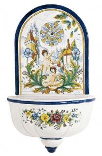 Casa Padrino Luxus Jugendstil Wandbrunnen Weiß / Mehrfarbig 62 x H. 104 cm - Handgefertigter & handbemalter Keramik Brunnen - Barock & Jugendstil Garten Deko Accessoires