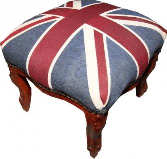 Casa Padrino Barock Fußhocker Union Jack / Wood - Hocker Englische Flagge Antik Stil England