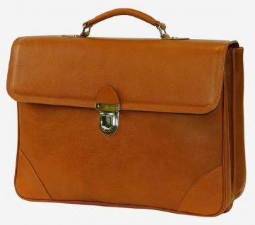 Casa Padrino Luxus Echtleder Aktentasche Hellbraun / Silber 42 x 16 x H. 29 cm - Herren Laptoptasche aus hochwertigem Leder - Luxus Herren Accessoires