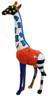Casa Padrino Designer Deko Giraffe Bunt H. 205 cm - Riesige Dekofigur - Gartendeko Skulptur - Wetterbeständige Gartenfigur