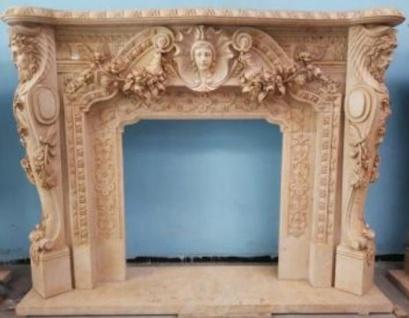 Casa Padrino Luxus Barock Kaminumrandung Beige 257 x 55 x H. 205 cm - Prunkvolle Kaminumrandung aus hochwertigem Marmor - Barock Möbel
