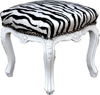 Casa Padrino Barock Fußhocker Zebra / Weiß - Antik Stil Möbel - Hocker