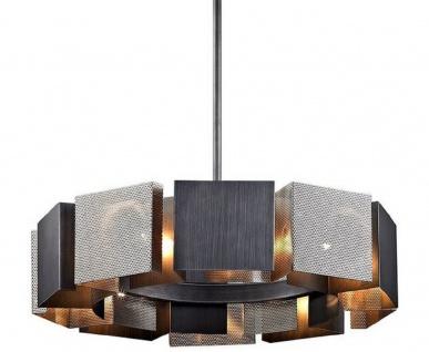 Casa Padrino Luxus Kronleuchter Graphit / Silber Ø 69, 9 x H. 18, 4 cm - Luxus Kollektion