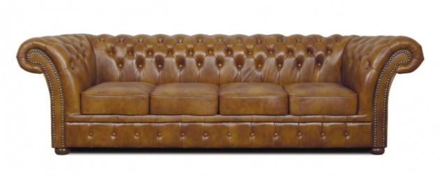 Casa Padrino Chesterfield Echtleder 4er Sofa braun 255 x 90 x H. 78 cm - Luxus Wohnzimmermöbel