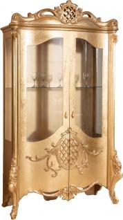 Casa Padrino Luxus Barock Vitrine Gold 130 x 50 x H. 222 cm - Prunkvoller Barock Vitrinenschrank mit 2 Türen - Wohnzimmerschrank - Barock Wohnzimmermöbel