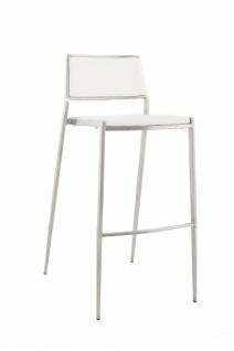 Casa Padrino Luxus Designer Barstuhl Weiß mit Rückenlehne, Barhocker, gepolstert - Barhocker