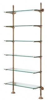 Casa Padrino Designer Wandregal Antik Messing 100 x 41 x H. 240 cm - Luxus Wohnzimmer Möbel