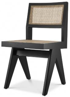 Casa Padrino Luxus Esszimmerstuhl Schwarz / Naturfarben 44 x 54 x H. 85, 5 cm - Massivholz Stuhl mit Rattangeflecht - Luxus Esszimmer Möbel