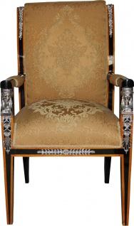 Casa Padrino Barock Luxus Empire Esszimmer Stuhl mit Armlehnen Mahagoni / Gold / Schwarz / Silber - Limited Edition