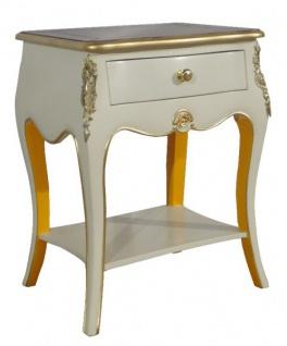 Casa Padrino Barock Kommode mit 1 Schublade Antik Weiß / Gold H 70 cm, B 50 cm - - Nachttisch Konsole - Nachtschrank