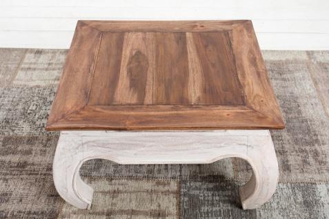 Casa Padrino Designer Beistelltisch Natur / Weiss Mahagoni 60 cm x H. 35 cm - Massivholz - Landhausstil - Vorschau 3