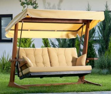 Casa Padrino Luxus Hollywood Schaukel Beige / Braun - Moderne Wetterfeste Garten Schaukel mit Sonnendach - Garten Terrassen Hotel Möbel - Luxus Kollektion