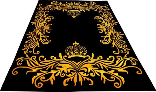 Pompöös by Casa Padrino Luxus Teppich von Harald Glööckler 80 x 150 cm Krone Schwarz / Gold - Barock Design Teppich - Handgewebt aus Wolle