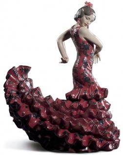 Casa Padrino Luxus Porzellan Skulptur Flamenco Frau Rot 27 x H. 47 cm - Handgefertigte Luxus Deko Figur - Limitierte Ausgabe