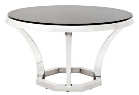 Casa Padrino Luxus Edelstahl Esstisch mit schwarzem Glas 130 x H. 75 cm - Designer Tisch