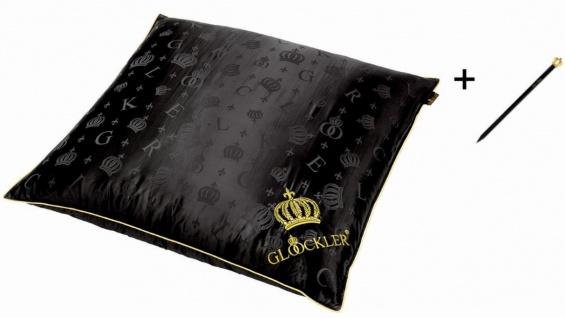 Harald Glööckler Designer Seiden Luxus 3 Kammer Kopfkissen 80 x 80 cm Schwarz / Gold + Casa Padrino Luxus Barock Bleistift mit Kronendesign