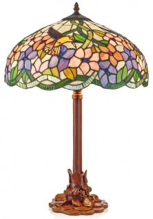 Casa Padrino Tiffany Tischleuchte Mehrfarbig Ø 40 x H. 61 cm - Handgefertigte Hockerleuchte