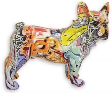 Casa Padrino Designer Kunstharz Dekofigur Hund Bulldogge Bunt 24, 4 x 10, 6 x H. 19, 6 cm - Wohnzimmer Deko Skulptur - Deko Accessoires