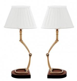 Casa Padrino Luxus Tischleuchten Set Horsebit White / Aged Brass (2 Leuchten ) - Leuchte Lampe - Tischleuchte Tischlampe Hockerleuchte