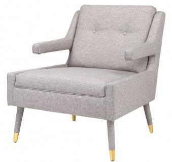 Casa Padrino Luxus Sessel Grau / Gold 76 x 88 x H. 89 cm - Wohnzimmer Sessel im Neoklassichen Stil - Designer Wohnzimmermöbel - Vorschau 2