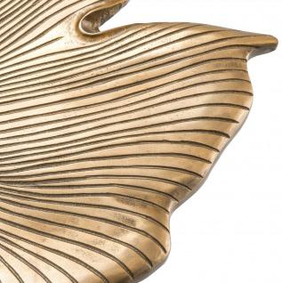 Casa Padrino Designer Beistelltisch Vintage Messingfarben / Schwarz / Gold 75 x 64 x H. 38, 5 cm - Aluminium Tisch im Ginkgoblätter Design - Luxus Qualität - Vorschau 4