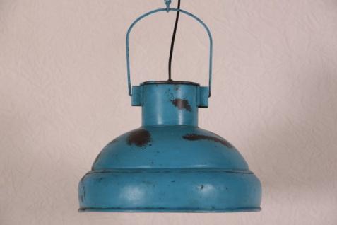 Casa Padrino Hängeleuchte Deckenleuchte Antik Stil Blau Industrial Vintage Design 33cm Durchmesser - Industrie Lampe Hänge Leuchte