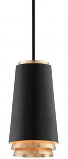 Casa Padrino Luxus LED Hängeleuchte Schwarz / Gold Ø 21 x H. 38, 1 cm - Runde Metall Pendelleuchte mit Blattgold