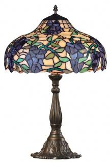 Casa Padrino Tiffany Tischleuchte Weintrauben Mehrfarbig Ø 39 x H. 59, 5 cm - Handgefertigte Luxus Tischlampe aus zahlreichen Glas Mosaik Stücken