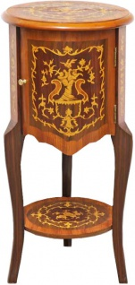 Casa Padrino Barock Beistelltisch mit Schubladen Braun Intarsien 80 x 40 cm - Antik Stil Beistelltisch - Telefontisch - Möbel