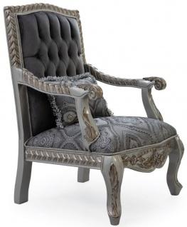 Casa Padrino Luxus Barock Sessel Grau / Blau / Silber / Bronze 80 x 80 x H. 120 cm - Prunkvoller Massivholz Wohnzimmer Sessel mit elegantem Muster und dekorativem Kissen - Barock Wohnzimmer Möbel