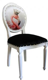 Casa Padrino Luxus Barock Esszimmer Set Flamingo mit Krone Weiß / Schwarz / Mehrfarbig 48 x 50 x H. 98 cm - 4 handgefertigte Esszimmerstühle mit Bling Bling Glitzersteinen - Barock Esszimmermöbel - Vorschau 2